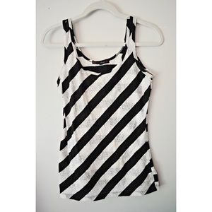 B/W stripe with lace sheer fabric tank top sz L